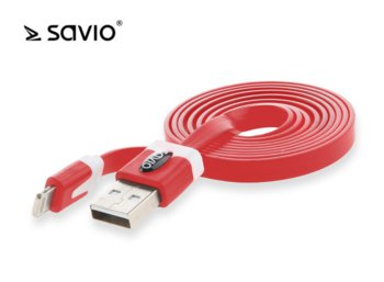 Elmak SAVIO CL-74 Kabel USB - Lightning 8pin, iOS8, iPhone 5/6, 1 m, Czerwony