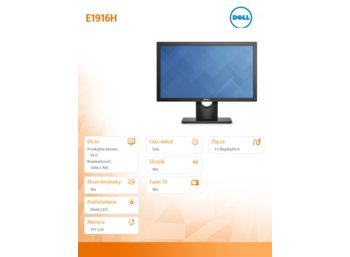 Dell E1916H 18.5'' LED TN Anti-Glare/16:9/1366x768/VGA/DP 1.2/3Y PPG
