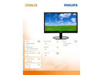 Philips Monitor 21.5 221S6LCB LED DVI Pivot Czarny