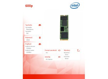 Intel 600p 128GB M.2 PCIe 3.0 NVMe 3.0 x4 770/450MB/s Reseller Single Pack