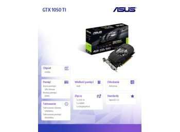 Asus GeForce CUDA GTX 1050 TI 4GB 128BIT DVI/HDMI/DP