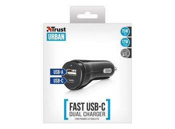 Trust USB A & C Smart Car Charger 15W