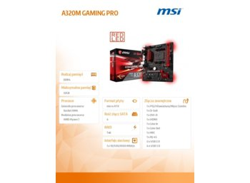 MSI A320M GAMING PRO AM4 2DDR4 6USB3.1/M.2/HDMI uATX