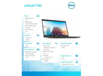 "Dell Latitude 7380 Win10Pro i7-7600U/SSD512GB/8GB/Integrated/13.3"" FHD/4-cell/KB-Backlit/3Y NBD"