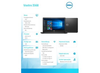 "Dell VOSTRO 3568 Win10Pro i3-6006U/500GB/4GB/DVDRW/HD520/15.6""HD/4-cell/3Y NBD"
