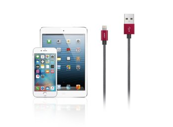 AUKEY CB-D24 Red Grey nylonowy szybki kabel Quick Charge Lightning-USB | 1m | certyfikat MFi Apple